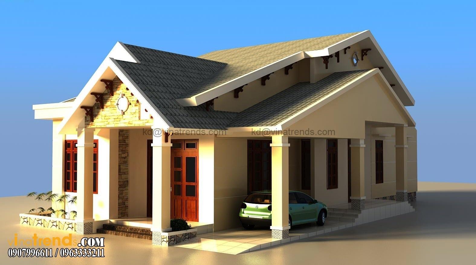 mau nha 1 tang dep Top 10 mẫu thiết kế nhà cấp 4 mái thái đẹp xu hướng 2016   BST021015A