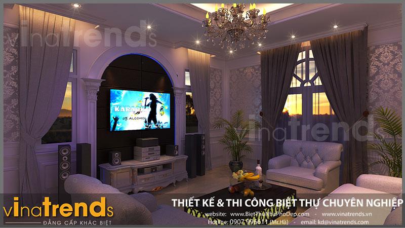 thiet ke phong karaoke Ngắm nhìn mẫu thiết kế nhà đẹp 133m2 của gia đình 3 thế hệ anh Bằng Bình Dương   ND051015A