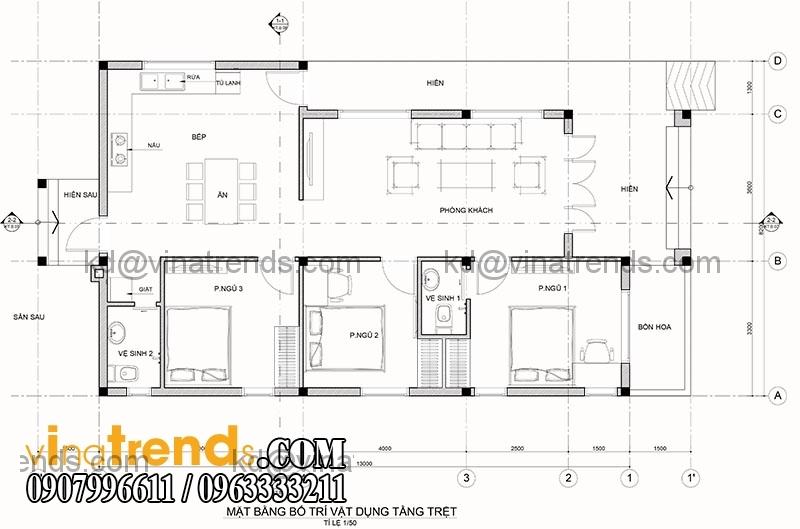ban ve mat bang thiet ke nha dep 1 tang dien tich 106m2 Tuyệt sắc giai nhân thiết kế nhà đẹp cấp 4 diện tích 8,2x13m chú Võng Đồng Nai   TKND251115A