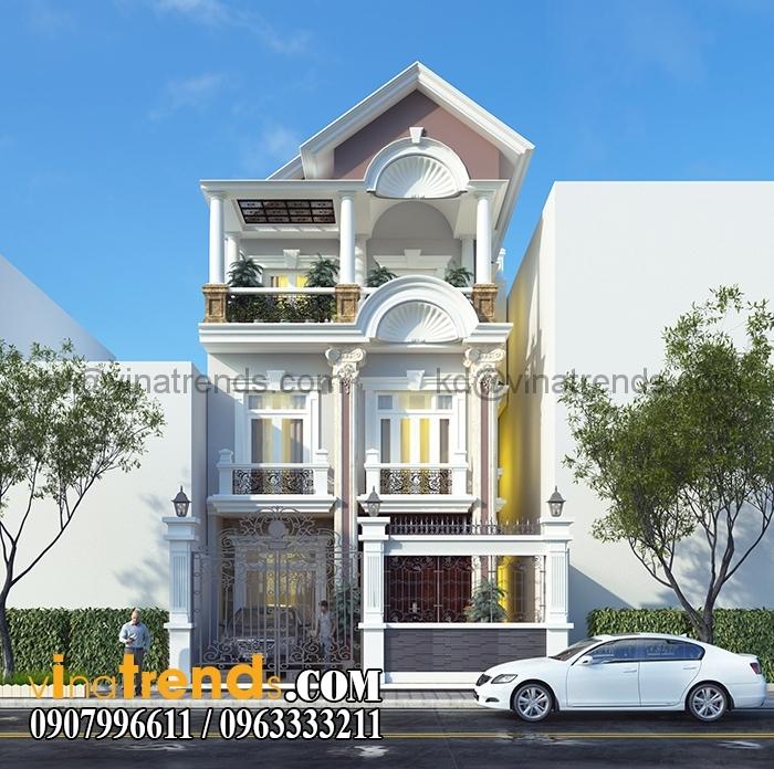 biet thu pho 3 tang dep 7x20m Chiêm ngưỡng mẫu biệt thự 3 tầng đẹp 140m2 phong cách cổ điển anh Dương Vĩnh Phúc   BT291215A