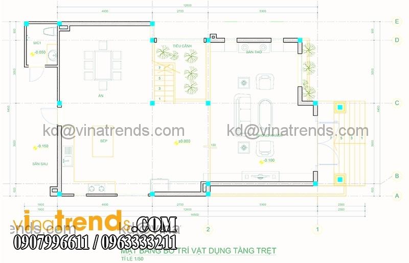 mat bang biet thu pho 2 tang hien dai 136m2 2 Mãn nhãn mẫu thiết kế biệt thự đẹp 2 tầng chú Thọ Bình Dương   BT130116A