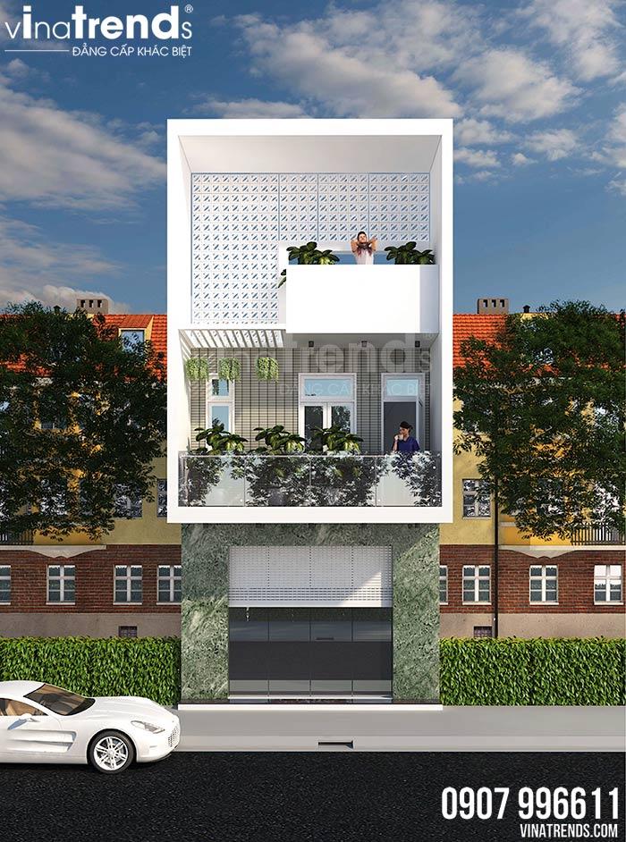 mau nha 2 tang co san thuong mat tien 4m dep 1 Mẫu nhà 2 tầng đơn giản có sân thượng như nhà 3 tầng mặt tiền 4m