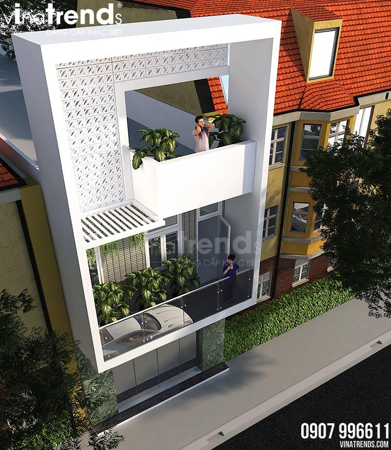 mau nha 2 tang co san thuong mat tien 4m dep 3 Mẫu nhà 2 tầng đơn giản có sân thượng như nhà 3 tầng mặt tiền 4m