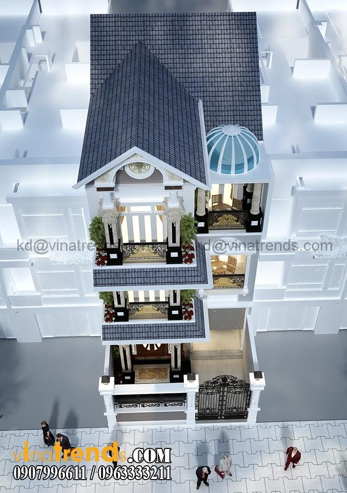 biet thu pho co dien 2 tang dep 2 Thiết kế biệt thự tân cổ điển Pháp 4 tầng 7x15m kiêu sa tráng lệ anh Ẩn Quận 12   BTCD090316A