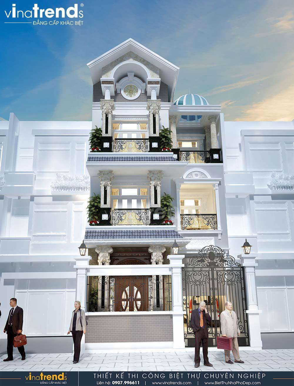 mau nha biet thu 3 tang dep co dien mai thai mat tien 7m dai 15m 1 Mẫu nhà biệt thự 3 tầng cổ điển mái thái 7m dài 15m nhà anh Ẩn ở Hồ Chí Minh