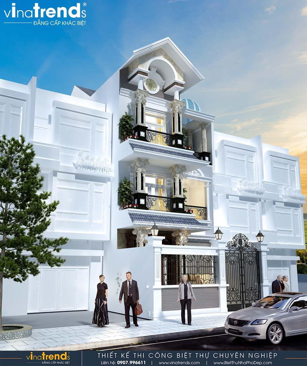 mau nha biet thu 3 tang dep co dien mai thai mat tien 7m dai 15m 2 Mẫu nhà biệt thự 3 tầng cổ điển mái thái 7m dài 15m nhà anh Ẩn ở Hồ Chí Minh
