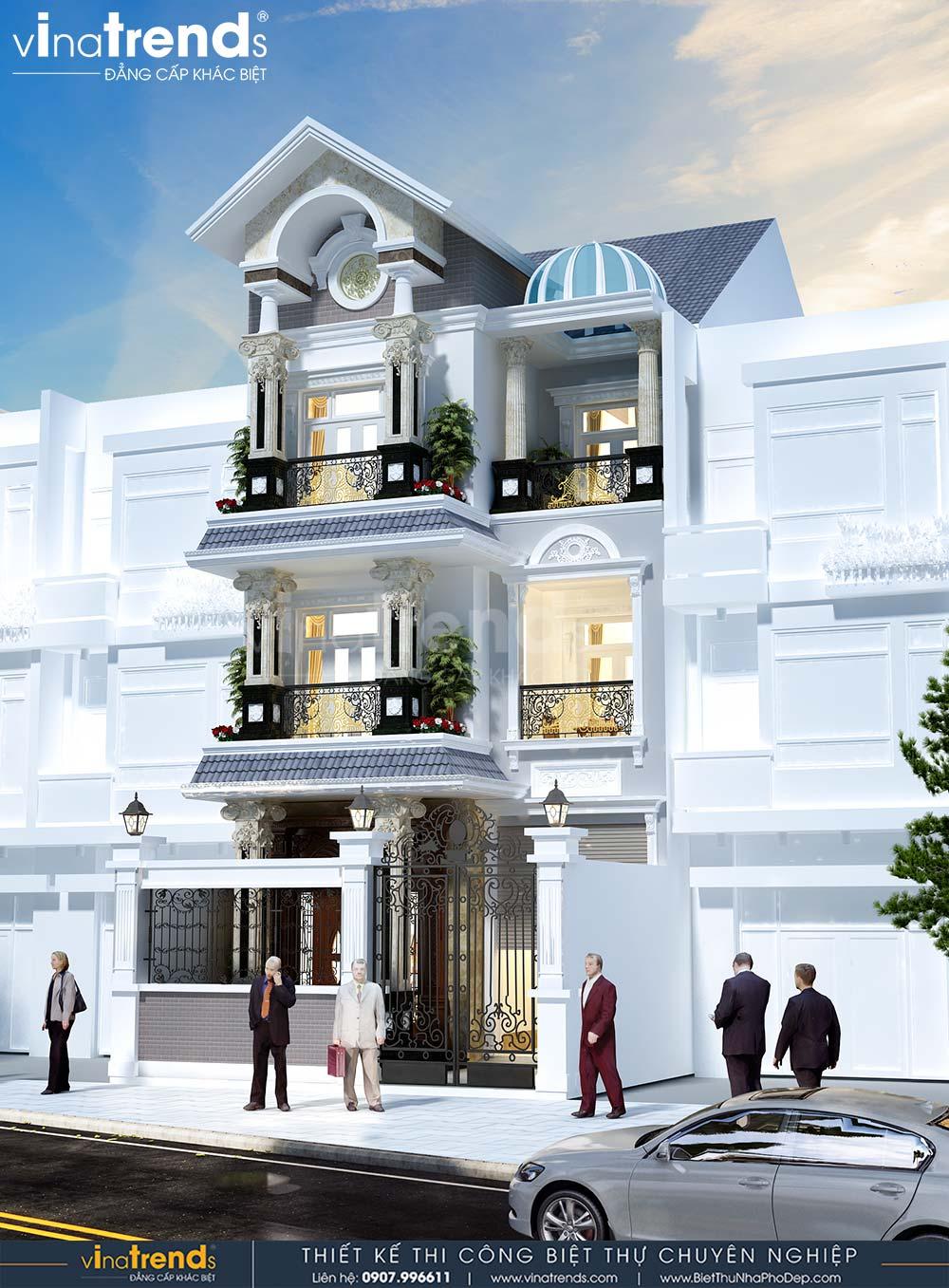 mau nha biet thu 3 tang dep co dien mai thai mat tien 7m dai 15m Mẫu nhà biệt thự 3 tầng cổ điển mái thái 7m dài 15m nhà anh Ẩn ở Hồ Chí Minh