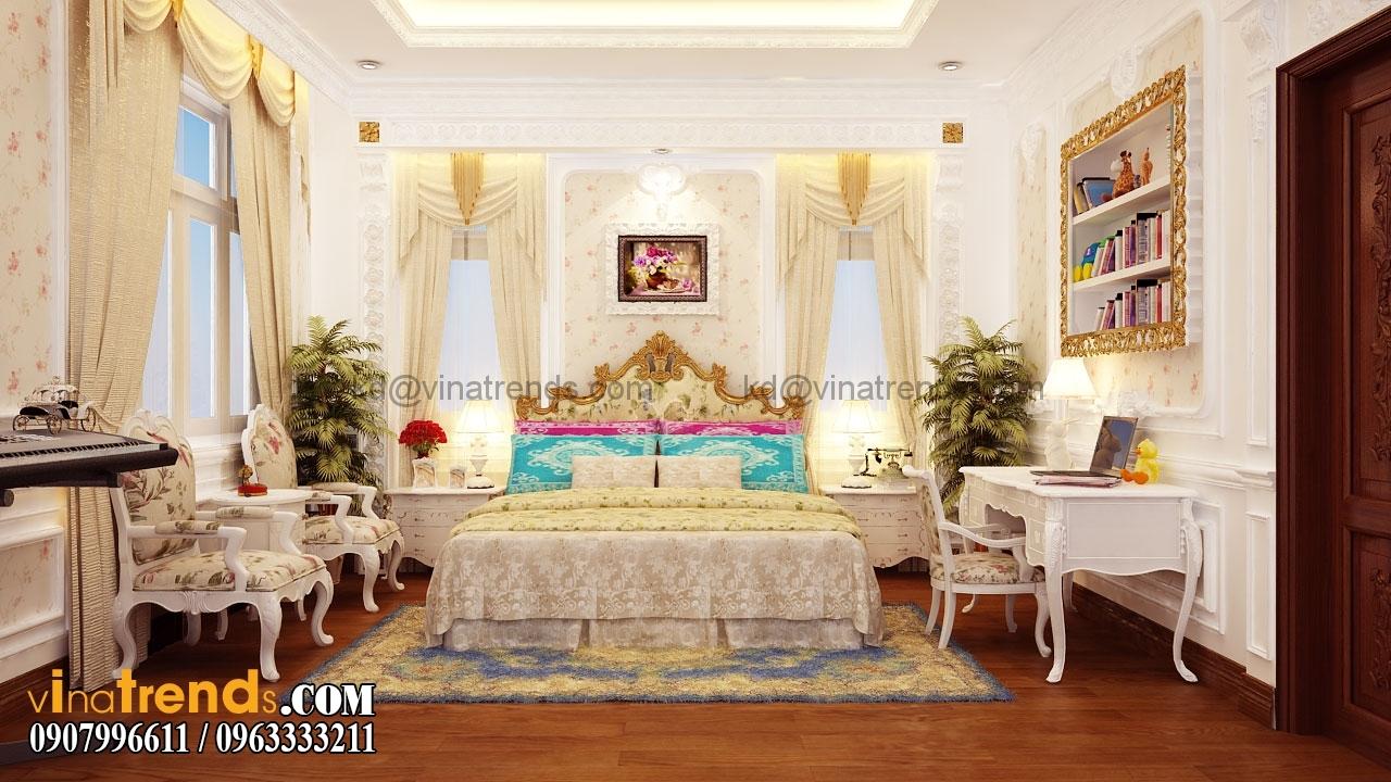 phong ngu 3 002.RGB color.0000 Mẫu nhà biệt thự 3 tầng cổ điển mái thái 7m dài 15m nhà anh Ẩn ở Hồ Chí Minh