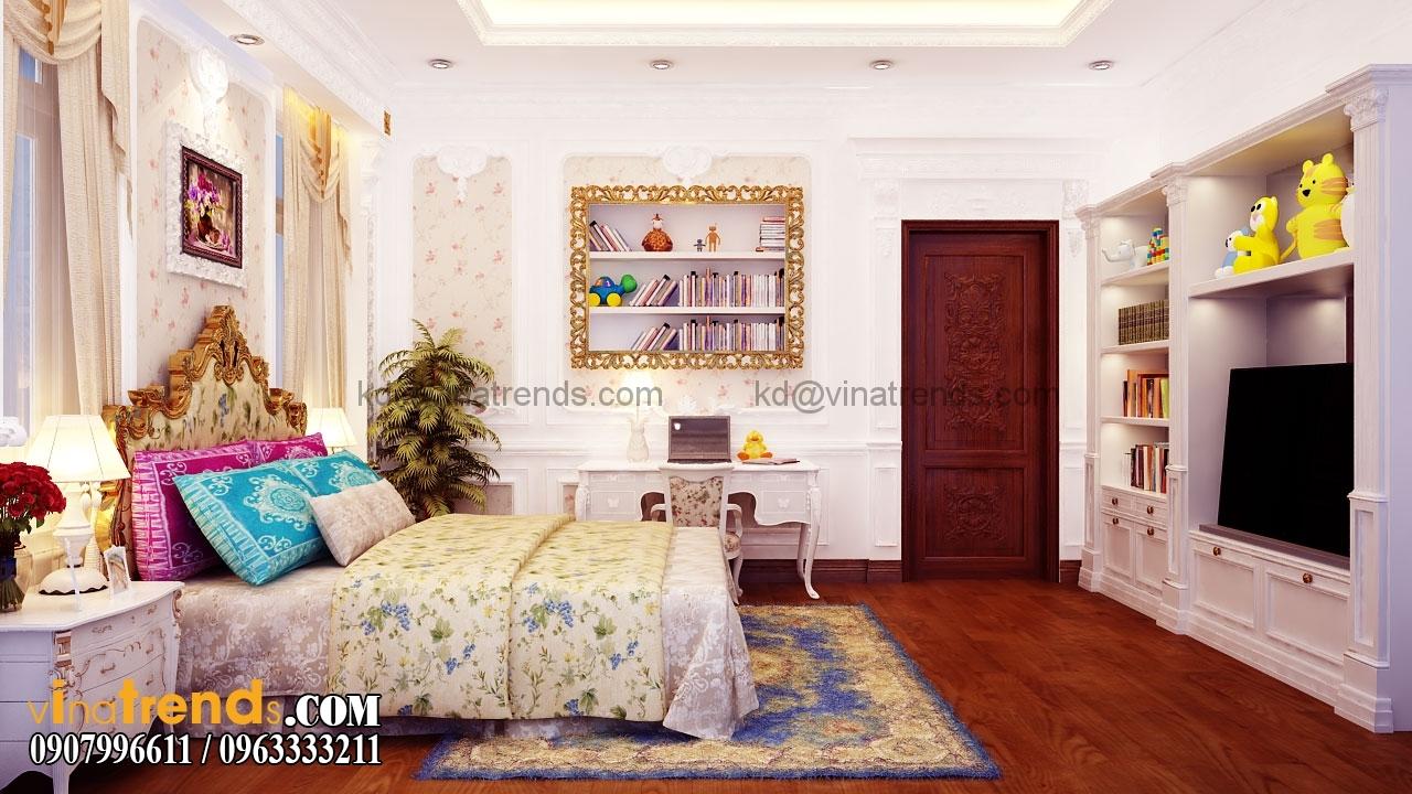phong ngu 3 003.RGB color.0000 Mẫu nhà biệt thự 3 tầng cổ điển mái thái 7m dài 15m nhà anh Ẩn ở Hồ Chí Minh