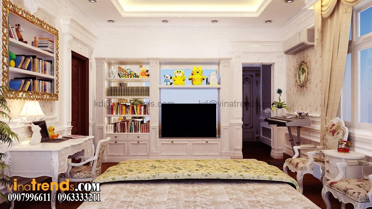 phong ngu 3 005.RGB color.0000 Mẫu nhà biệt thự 3 tầng cổ điển mái thái 7m dài 15m nhà anh Ẩn ở Hồ Chí Minh