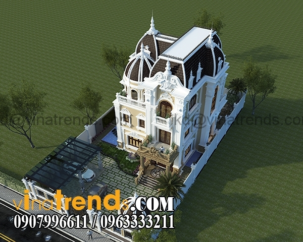 4 Dự án thiết kế biệt thự cổ điển 3 tầng 17,5x34m đẹp đê mê anh Trụ ở Tây Ninh   BTCD140416
