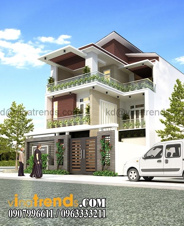REN 23 1 Kiến trúc biệt thự hiện đại mặt phố 3 tầng đẹp 147m2 anh Dũng Bình Phước   BT040416