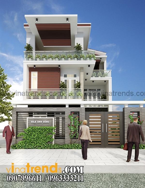 REN23 1A Kiến trúc biệt thự hiện đại mặt phố 3 tầng đẹp 147m2 anh Dũng Bình Phước   BT040416