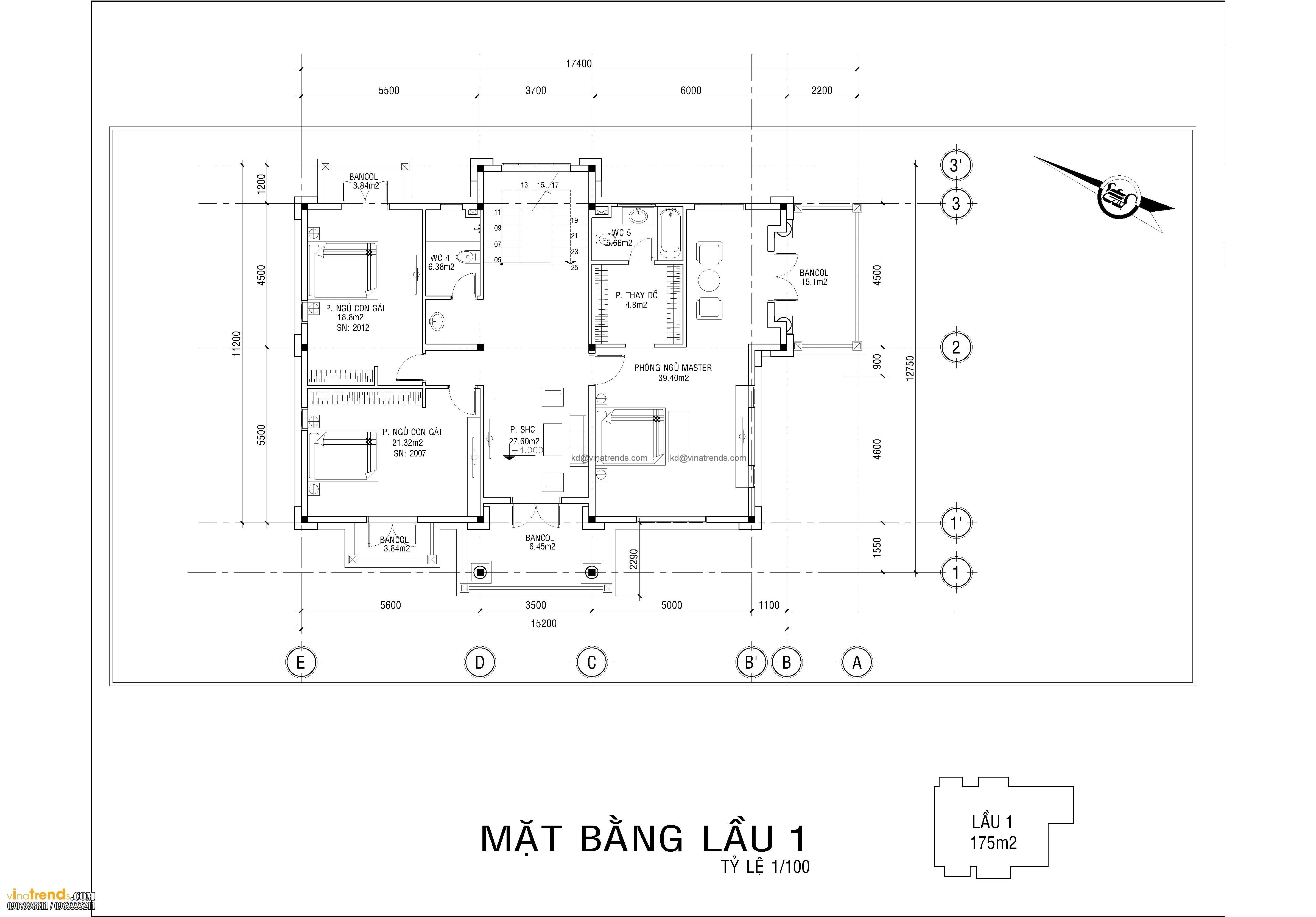 ban ve biet thu co dien 3 tang dep 2 Dự án thiết kế biệt thự cổ điển 3 tầng 17,5x34m đẹp đê mê anh Trụ ở Tây Ninh