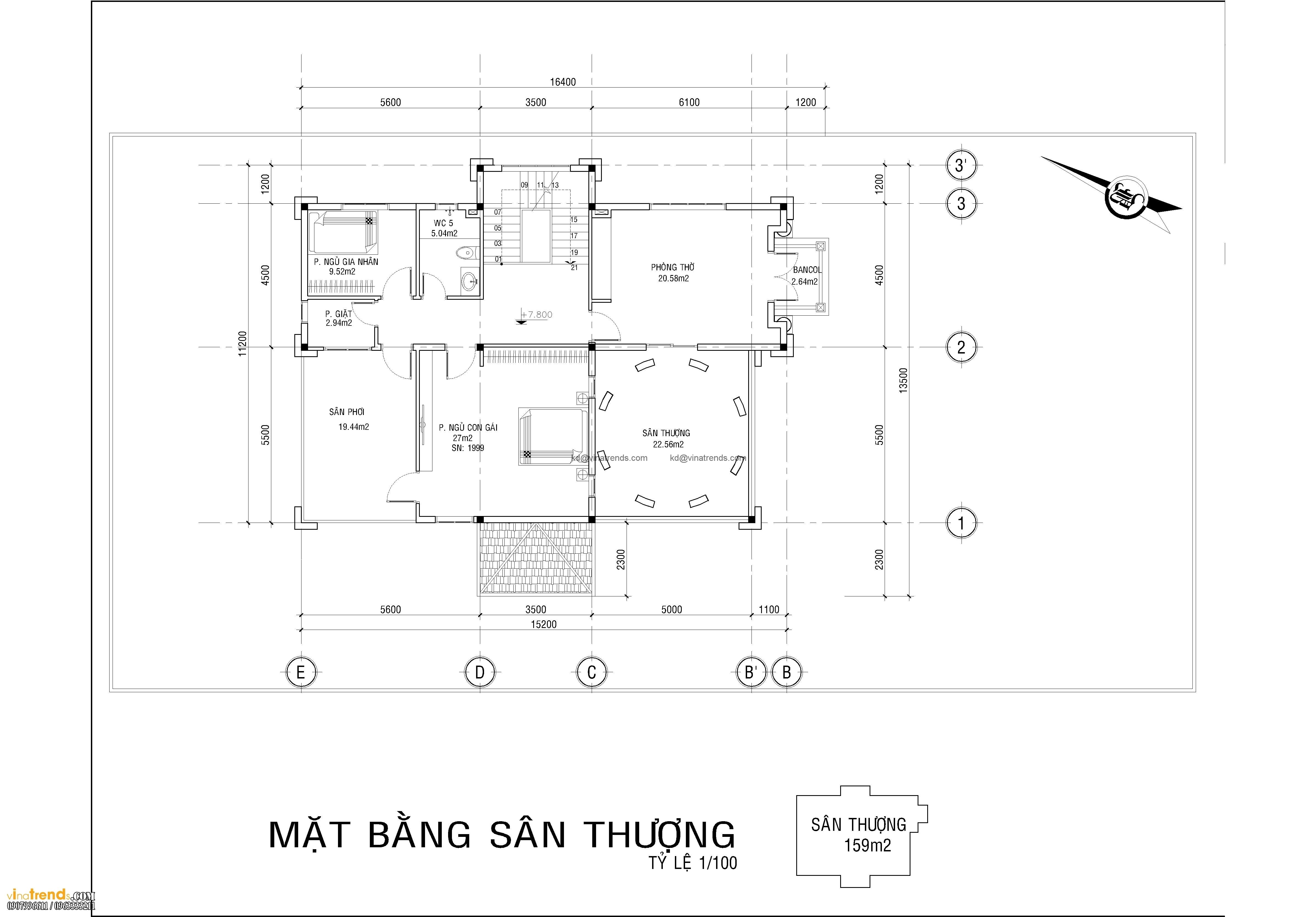 ban ve biet thu co dien 3 tang dep 3 Dự án thiết kế biệt thự cổ điển 3 tầng 17,5x34m đẹp đê mê anh Trụ ở Tây Ninh