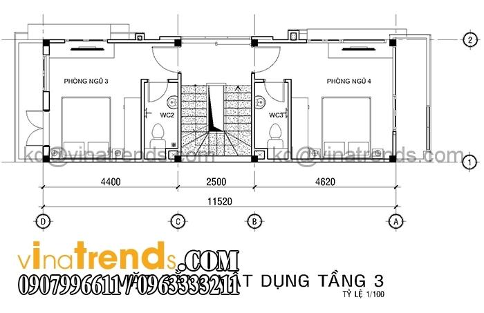 ban ve mat bang mau nha pho 4 tang dien tich 4x12m 1 Mẫu nhà mặt phố 4 tầng 4x12m có sân thượng đẹp   NP270116