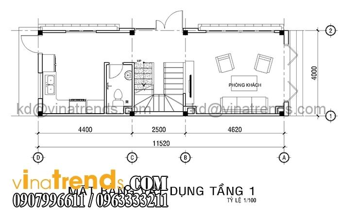 ban ve mat bang mau nha pho 4 tang dien tich 4x12m 2 Mẫu nhà mặt phố 4 tầng 4x12m có sân thượng đẹp   NP270116