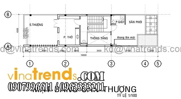 m 4 Mẫu thiết kế nhà phố đẹp mặt tiền 4,5m 4 tầng chị Phương ở Long An   NP010416
