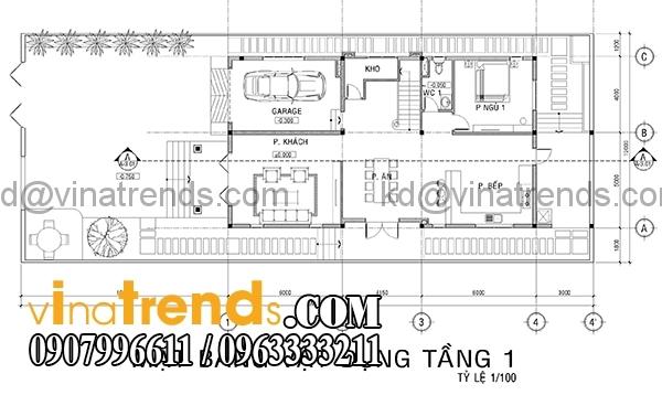 mat bang 1 Mẫu thiết kế nhà phố đẹp mặt tiền 4,5m 4 tầng chị Phương ở Long An   NP010416