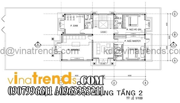 mat bang 2 Mẫu thiết kế nhà phố đẹp mặt tiền 4,5m 4 tầng chị Phương ở Long An   NP010416