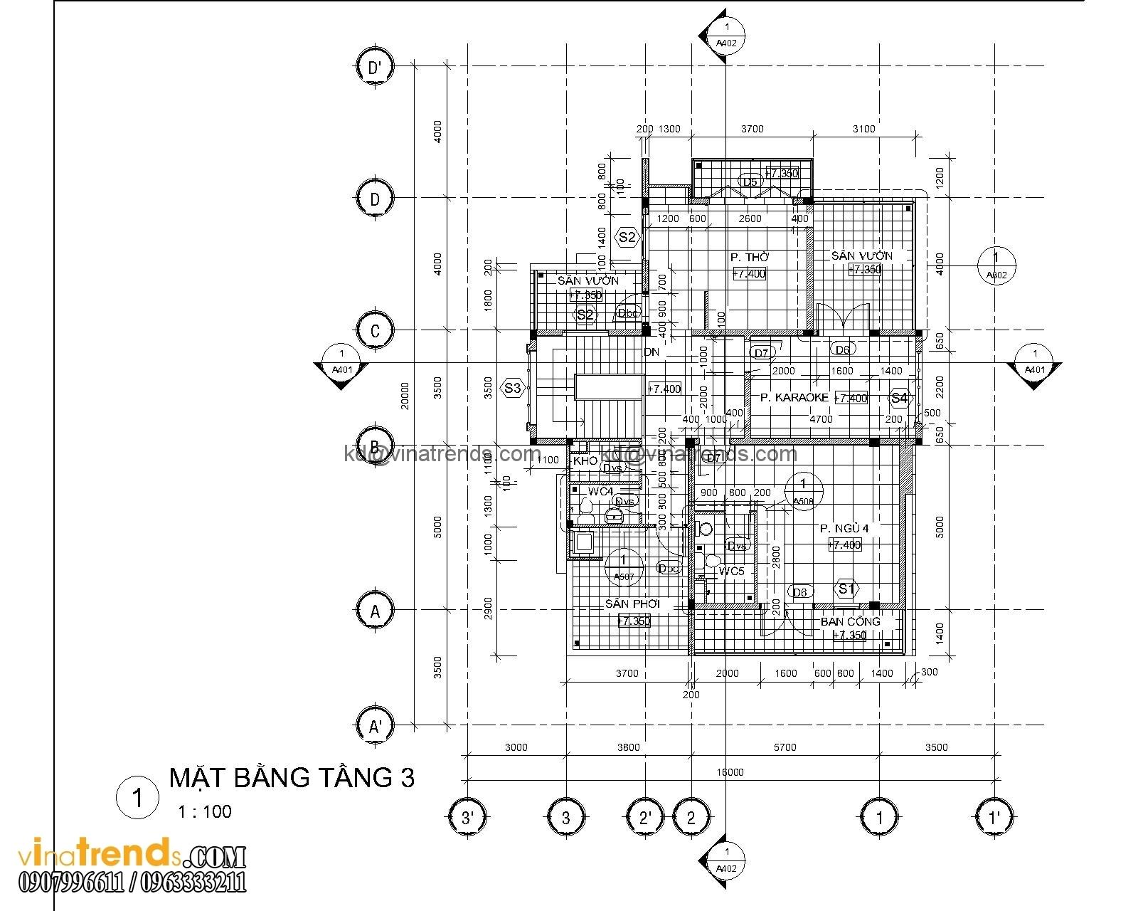 mat bang biet thu hien dai 3 tang 18x20m 8 Biệt thự mini 3 tầng đẹp hoa phải ghen liễu cũng hờn   BTMN101014A