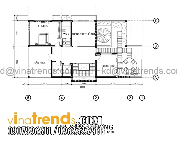 mb san thuong 1 Bản vẽ kiến trúc biệt thự hiện đại 4 tầng 10x20m mái lệch phong cách   BTHD300416