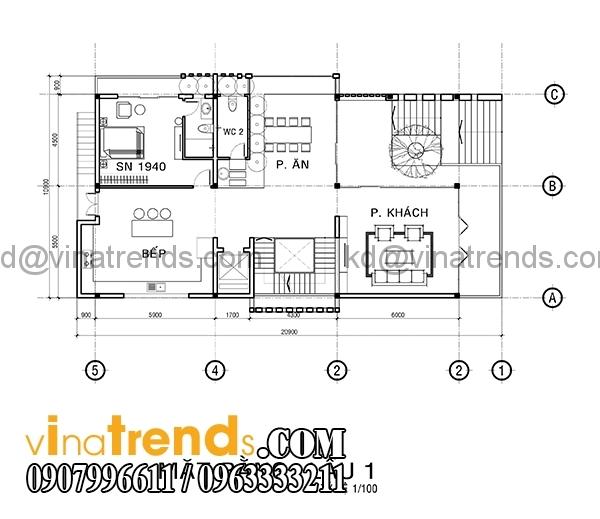 mb1 3 Bản vẽ kiến trúc biệt thự hiện đại 4 tầng 10x20m mái lệch phong cách   BTHD300416
