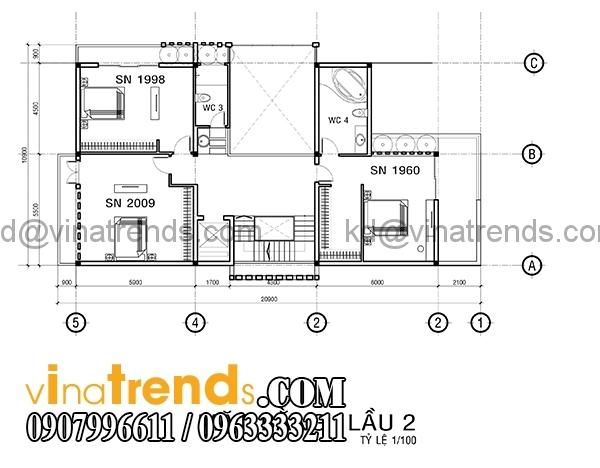 mb2 3 Bản vẽ kiến trúc biệt thự hiện đại 4 tầng 10x20m mái lệch phong cách   BTHD300416