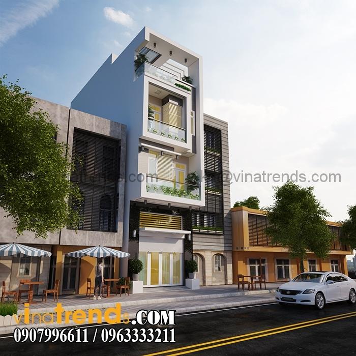 phoi canh mau thiet ke nha pho dep 4 tang 45x18m hien dai 1 Mẫu thiết kế nhà phố đẹp mặt tiền 4,5m 4 tầng chị Phương ở Long An   NP010416