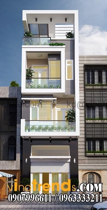 phoi canh mau thiet ke nha pho dep 4 tang 45x18m hien dai 2 Mẫu thiết kế nhà phố đẹp mặt tiền 4,5m 4 tầng chị Phương ở Long An   NP010416