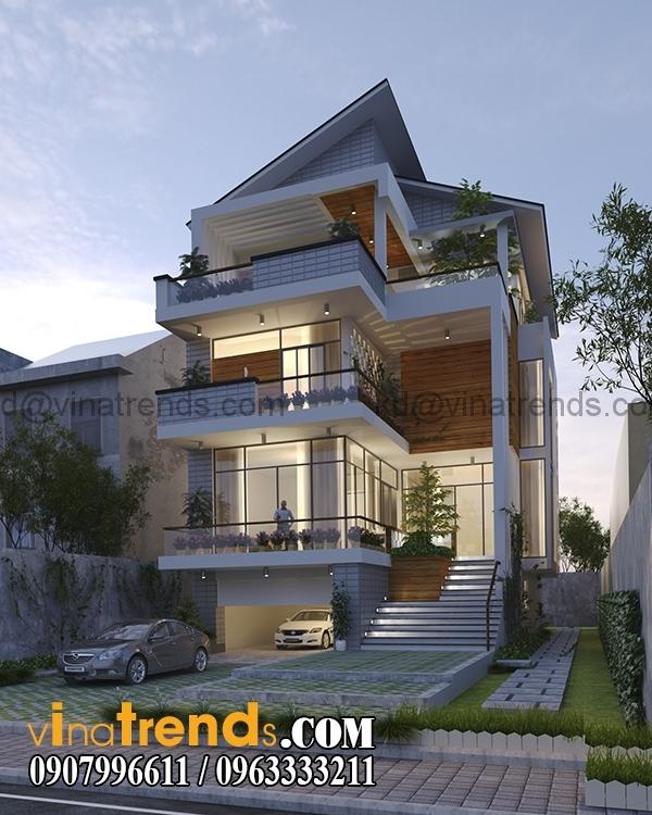 phuong an 1 phoi canh 1 Bản vẽ kiến trúc biệt thự hiện đại 4 tầng 10x20m mái lệch phong cách   BTHD300416