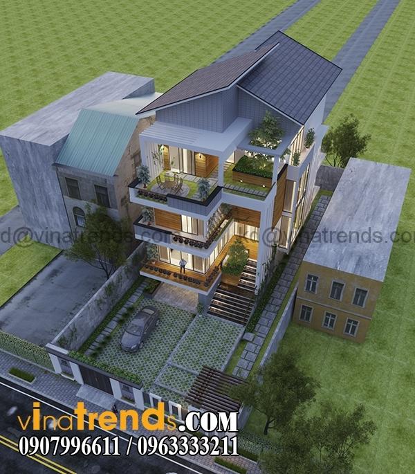 phuong an 1 phoi canh 2 1 Bản vẽ kiến trúc biệt thự hiện đại 4 tầng 10x20m mái lệch phong cách   BTHD300416