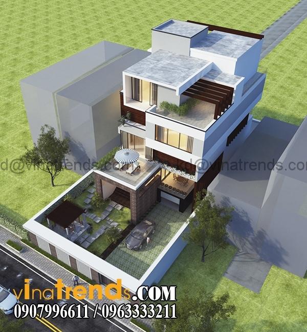 phuong an 2 phoi canh 1 Bản vẽ kiến trúc biệt thự hiện đại 4 tầng 10x20m mái lệch phong cách   BTHD300416