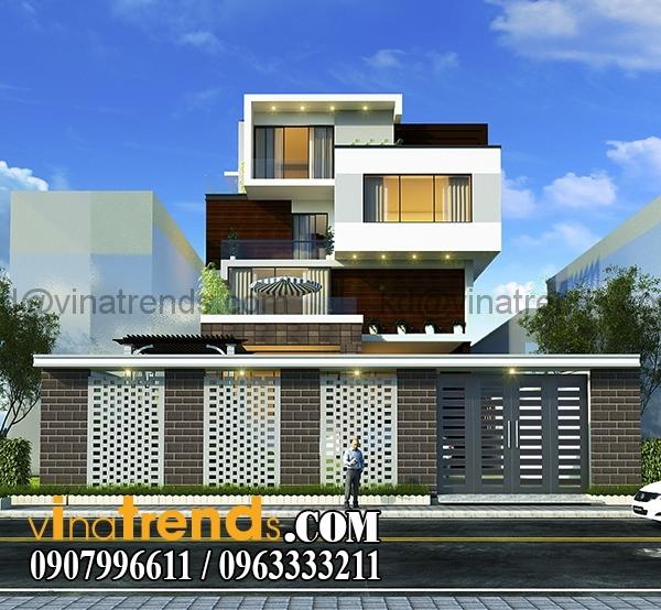 phuong an 2 phoi canh 2 Bản vẽ kiến trúc biệt thự hiện đại 4 tầng 10x20m mái lệch phong cách   BTHD300416