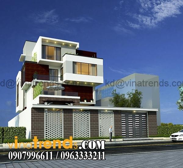phuong an 2 phoi canh 3 Bản vẽ kiến trúc biệt thự hiện đại 4 tầng 10x20m mái lệch phong cách   BTHD300416