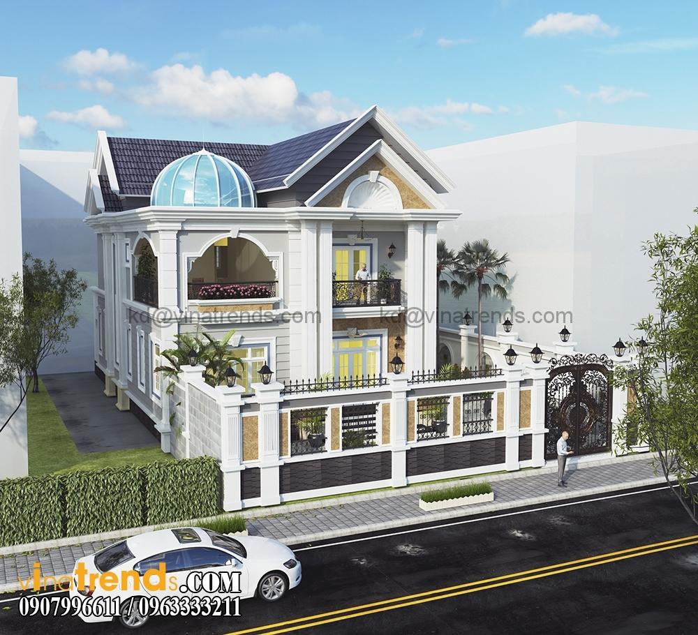 A 3 1 Kiến trúc biệt thự hiện đại 2 tầng 8,5x14m đẹp sân vườn chị Mai Long An