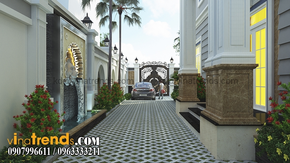 A 5 Kiến trúc biệt thự hiện đại 2 tầng 8,5x14m đẹp sân vườn chị Mai Long An