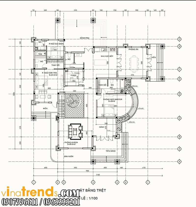 ban ve biet thu 2 tang tang1 ca mau mẫu nhà 2 tầng đẹp quy mô biệt thự sang trọng tại Cà Mau   BT100