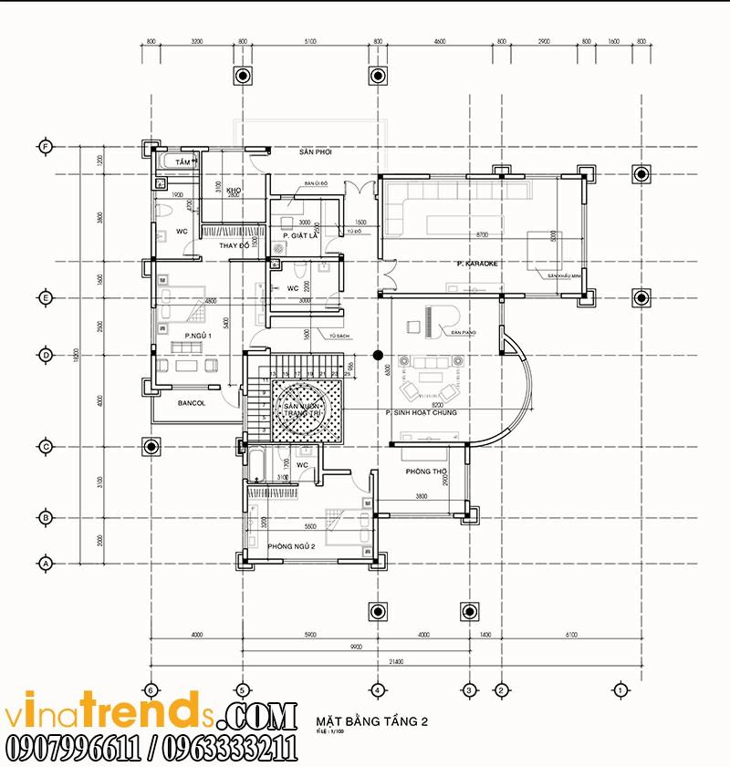 ban ve biet thu 2 tang tang2 ca mau mẫu nhà 2 tầng đẹp quy mô biệt thự sang trọng tại Cà Mau   BT100