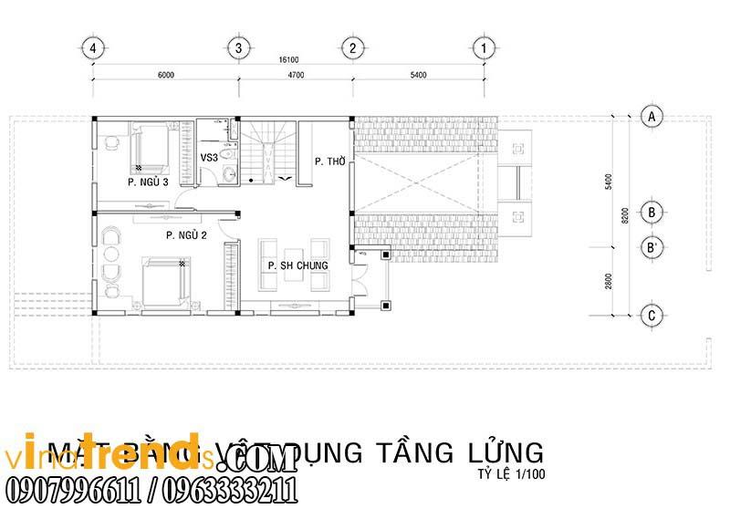 ban ve bo tri cong nang nha 8x16 Thiết kế biệt thự mini 2 tầng đẹp nguy nga mà chi phí thấp   BT10