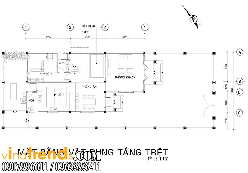 ban ve bo tri nha 8x16 Thiết kế biệt thự mini 2 tầng đẹp nguy nga mà chi phí thấp   BT10