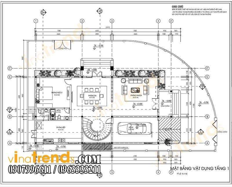 mat bang biet thu tang 1 Mẫu nhà biệt thự 2 tầng đẹp kiến trúc tân cổ điển sang trọng tại quảng nam   BT58