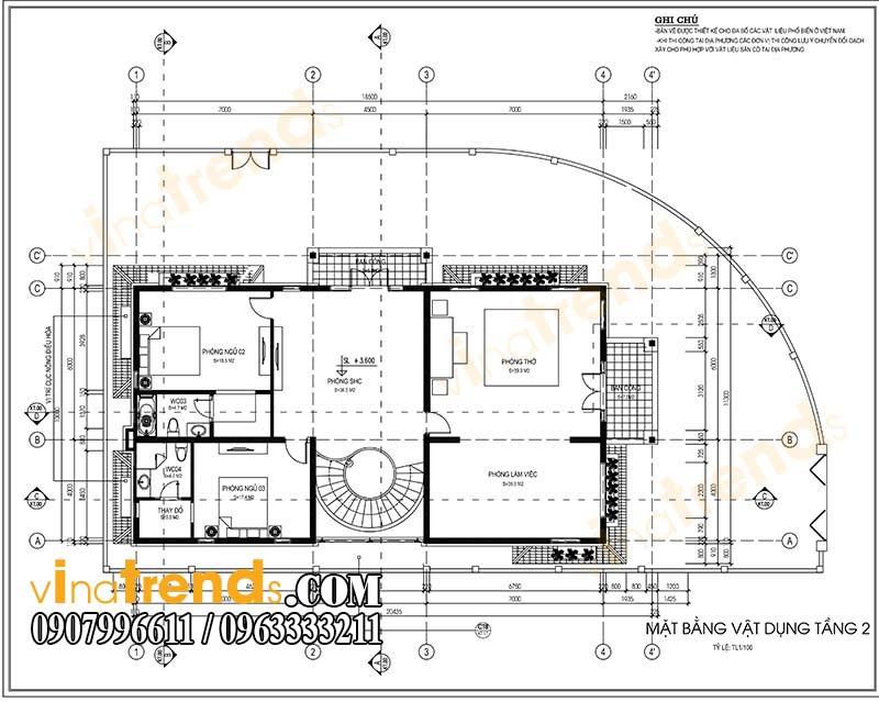 mat bang biet thu tang 2 Mẫu nhà biệt thự 2 tầng đẹp kiến trúc tân cổ điển sang trọng tại quảng nam   BT58
