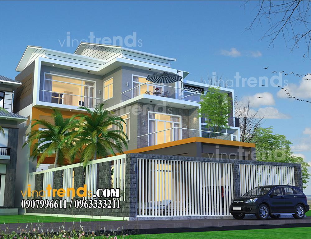 mau biet thu mini 2 tang 1 tum hien dai 11x165m anh cuong o hue vinatrends 2 1 Mẫu nhà biệt thự hiện đại 3 mặt tiền 4 tầng có sân thượng diện tích 9,6x9,5m ở Quận 2 Sài Gòn