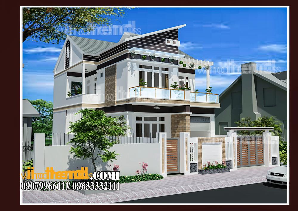 001 Vì sao mẫu biệt thự 2 tầng hiện đại mái lệch có gara + 4 phòng ngủ tiện nghi hợp ý 4 thành viên nhà cô Hiền