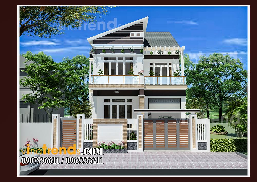 002 Vì sao mẫu biệt thự 2 tầng hiện đại mái lệch có gara + 4 phòng ngủ tiện nghi hợp ý 4 thành viên nhà cô Hiền