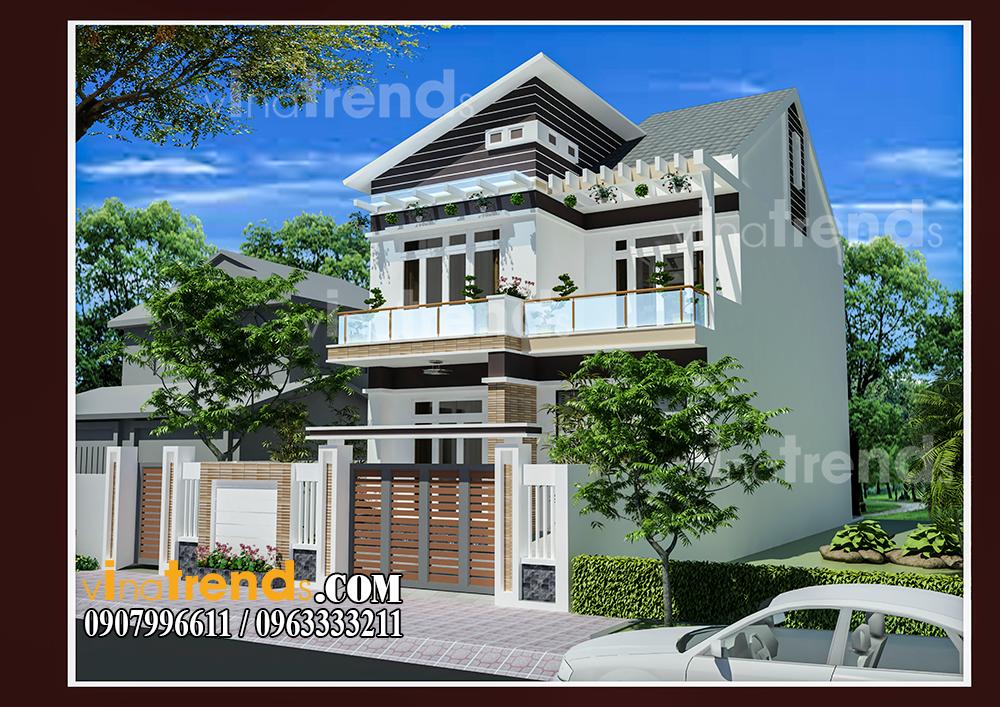003 Vì sao mẫu biệt thự 2 tầng hiện đại mái lệch có gara + 4 phòng ngủ tiện nghi hợp ý 4 thành viên nhà cô Hiền