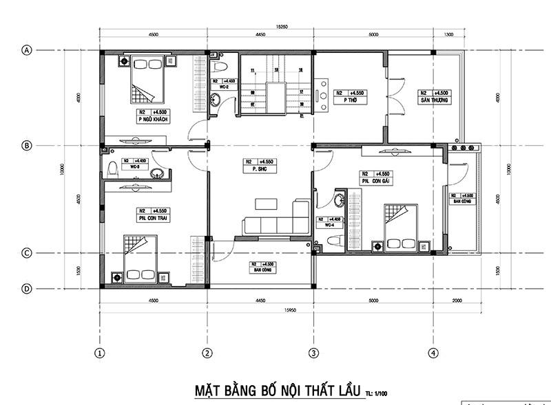 mat bang lau nha co hien Vì sao mẫu biệt thự 2 tầng hiện đại mái lệch có gara + 4 phòng ngủ tiện nghi hợp ý 4 thành viên nhà cô Hiền