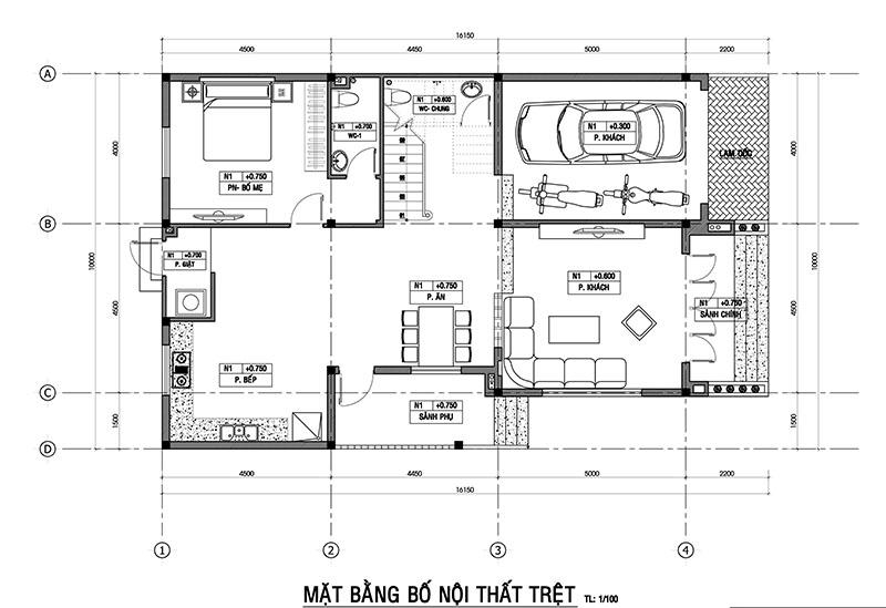 mat bang tret nah co hien Vì sao mẫu biệt thự 2 tầng hiện đại mái lệch có gara + 4 phòng ngủ tiện nghi hợp ý 4 thành viên nhà cô Hiền