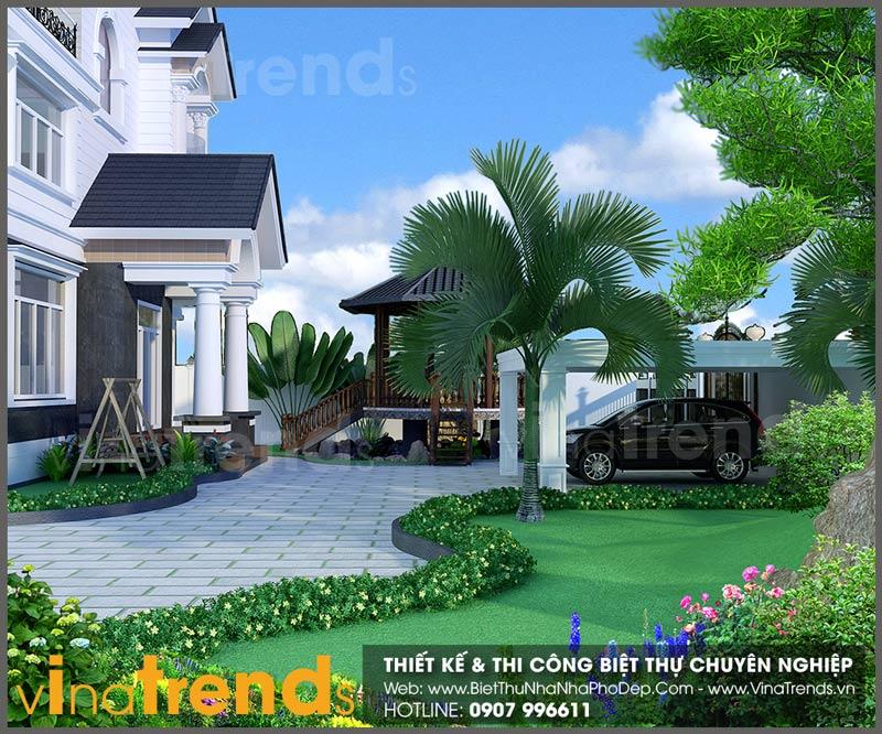 mau biet thu san vuon dep 1 Full thiết kế mẫu biệt thự 3 tầng rộng trên 1000m2 đẹp soái ngôi ở xã Phước Thiền   ĐN